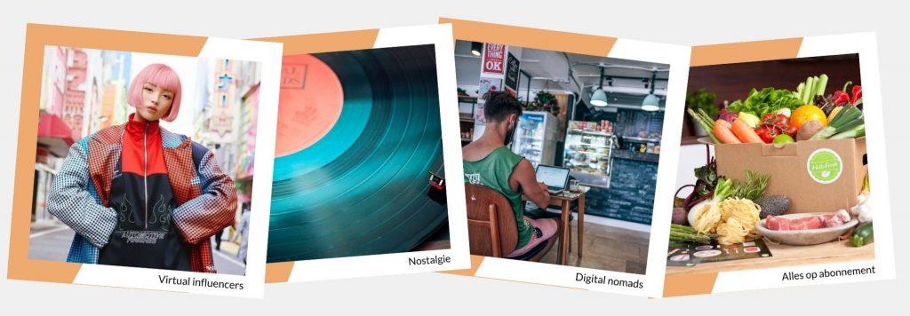 Trendkaarten (virtual influencers, nostalgie, digital nomads, alles op abonnement)